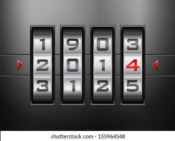 Metallic combination lock 2014 New Year. Vector illustration.