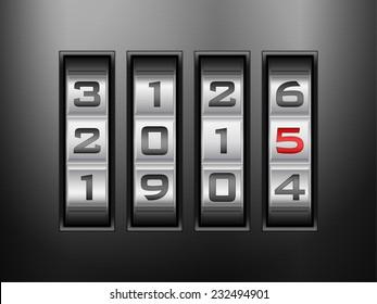 Metallic combination lock 2015 New Year. Vector illustration.