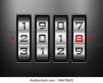 Metallic combination lock New Year. Vector illustration.