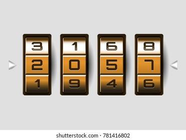 Metallic combination lock with numbers. Vector illustration.