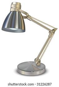 Metallic desk lamp, isolated object on white background