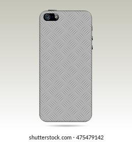 metallic diamond plate back cover smartphone.vector illustration.