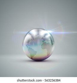 Metallic Earth globe. 3D metallic sphere with iridescent reflections and lens flare light effect. Vector realistic illustration with silver globe.