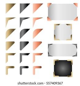 Metallic frame corner vector set. Gold copper and black photo card edging.
