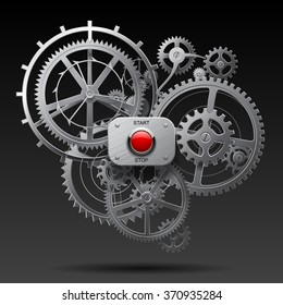 Metallic gear wheels of clockwork with start and stop red button on black background. Techno symbol and metaphor. Vector Illustration
