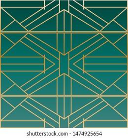 Metallic geometric art deco frames in jewel toned teal green