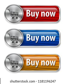 Metallic and glossy web elements with curved lines background for online shopping. Vector illustration