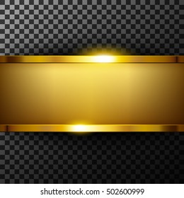 Metallic gold banner with text space on transparent textured vector illustration