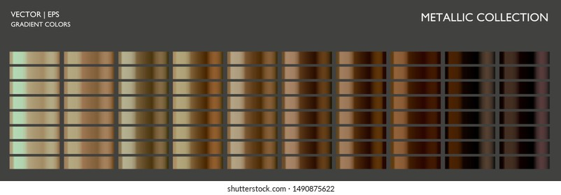 Metallic gold, bronze colorful palette set. Metal gradient background template for screen, mobile, banner, label, tag, packaging, print. Vivid color combination.