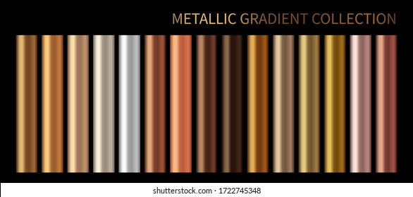 Metallic gold, bronze, silver gradient vector colorful palette and texture set. Holographic background swatch template for banner, screen, mobile,  label, tag. Metal color gradient vector design