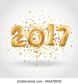 Metallische Goldbrief-Ballons, 2017 Frohes neues Jahr, Goldene Zahlenballon, Alphabet Letter Balloons, Zahlballon, Luftkugel