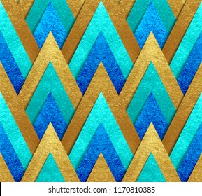Metallic gold paper cut at geometric bright background peacock colors vector seamless pattern made of foil triangles with transparent shadow