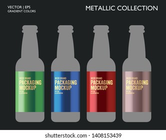 Metallic gold, silver, bronze colorful palette set. Gradient background template for screen, mobile, banner, label, tag, packaging, print. Packaging mockup.