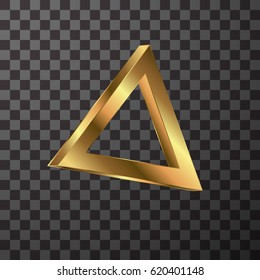 Metallic gold triangle on transparent textured vector illustration Gold geometric element.