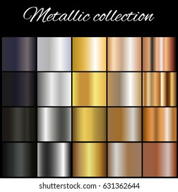 Metallic  gradient collection for design.Golden, silver,bronze and black gradients.Abstract  background texture. Vector illustration.