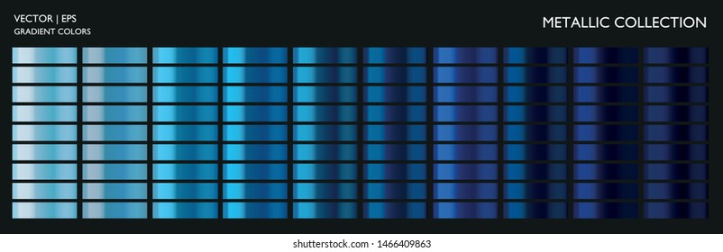 Metallic gradient. Metal effect. Blue color set. Dark and light blue palette. Holographic background template for screen, mobile, banner, label, tag. Chromium car texture.