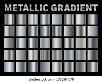 Metallic gradients. Silver foil, grey shiny metal gradient border ribbon square frame, aluminum shiny chrome plate with reflection. Vector set