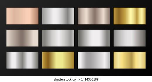 Metallic gradients vector set: golden, silver, platinum, bronze, pink gold. Shiny chrome, alloy, aluminum, titanium, copper, silver, rose gold, platinum, steel, bronze background swatches.