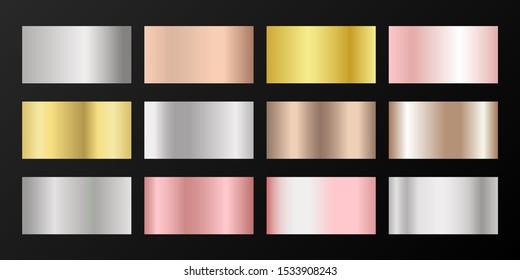 Metallic gradients vector set: golden, silver, platinum, bronze, rose gold. Foil chrome, alloy, aluminum, titanium, copper, silver, yellow and pink gold, platinum, steel, bronze background swatches.