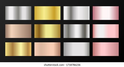 Metallic gradients vector set: golden, silver, platinum, bronze, rose gold. Shiny chrome, alloy, aluminum, titanium, copper, silver, rose gold, platinum, steel, bronze background swatches.