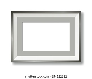 metallic gray vector picture frame with passe-partout