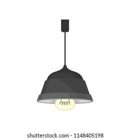 Metallic hang ceiling lamp, interior design element vector Illustration on a white background