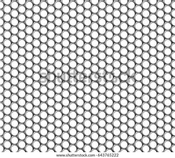 Metallic Hexagonal Grid Realistic Seamless Metal Stock