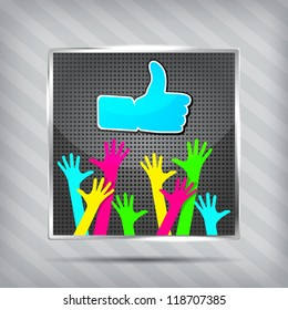 "metallic icon with happy hands with ""Like"" symbol on a striped background"