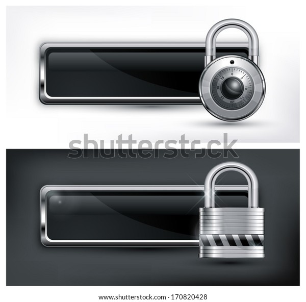 Metallic icon with round and square padlock on black & white, vector illustration