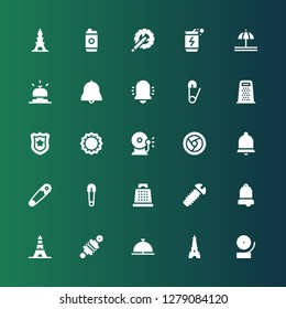 metallic icon set. Collection of 25 filled metallic icons included Bell, Eiffel tower, Damper, Screw, Grater, Safety pin, Chrome, Ring bell, Bottle cap, Police badge, Energy drink