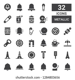 metallic icon set. Collection of 32 filled metallic icons included Bell, Eiffel tower, Grater, Screw, Bottle cap, Ringer, Metal, Bottle opener, Damper, Chrome, Safety pin, Beer can