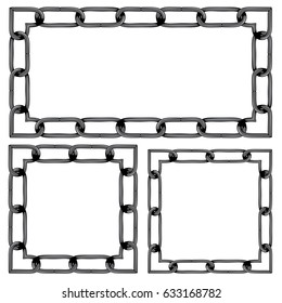 Metallic iron chains in different sizes background.