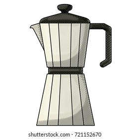 metallic jar of coffee with handle colored crayon silhouette vector illustration