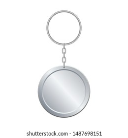 Metallic key chain vector design illustration isoalted on white background