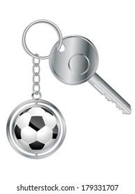 Metallic key with soccer ball keyholder on white