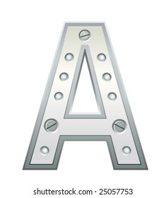 Metallic letter A with rivets and screws