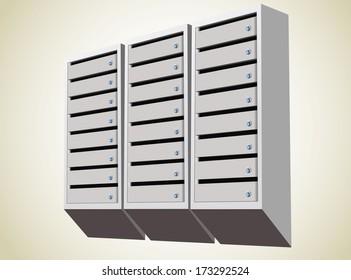 metallic mailbox array tidy inside apartment houses