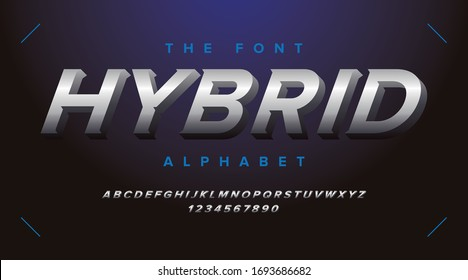 Metallic modern alphabet and fonts with silver color, hybrid speed fast sport trendy minimal urban modern futuristic typeface typo typography and number, uppercase lowercase. Vector illustration.