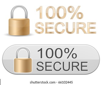 Metallic padlock. 100% Secure. SSL Certificates Sign for website.