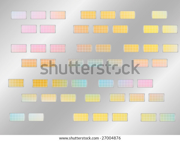 Metallic plates with cutouts and a colorful mesh behind