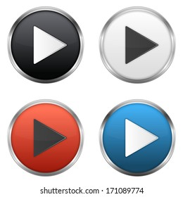 Metallic play buttons set,  vector eps10 illustration