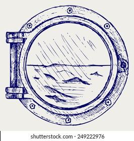 Metallic porthole. Doodle style
