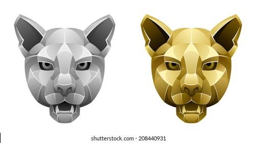 Metallic puma head
