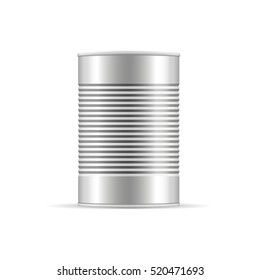 Metallic Ribbed Tin Cans. Canned food. Mockup for your design. Product packaging vector illustration.