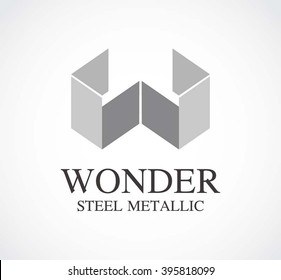 Metallic ribbon of steel abstract vector and logo design or template letter w business icon of company identity symbol concept