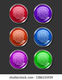 Metallic round web button infographic