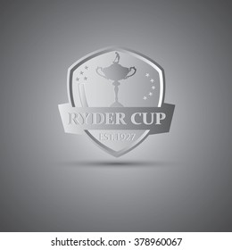 Metallic Ryder cup golf tournament logo