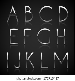 Metallic silver alphabet letters collection - eps10