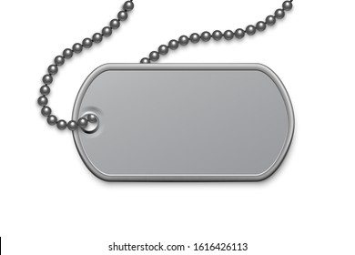 Metallic silver badge military with chain template. Dog tag on lace. Detailed element for army metal token. Engraved pendant for identification, blood type. Vector illustration
