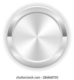 Metallic silver button on white background